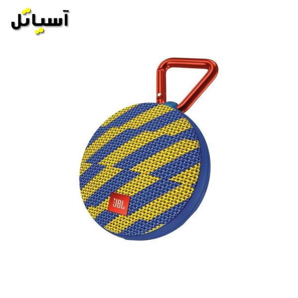 تصویر اسپیکر بلوتوث JBL مدل Clip2 رنگ زرد و آبی