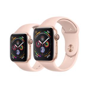 تصویر نمای جلو و راست اپل واچ سری 4 آلومینیوم صورتی سایز 40 و 44 میلیمتر