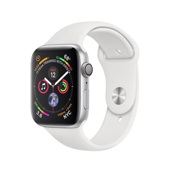 تصویر نمای جلو و راست اپل واچ سری 4 آلومینیوم نقره ایی