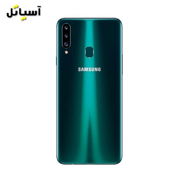 تصویر نمای پشت گوشی موبایل سامسونگ مدل A20s سبز