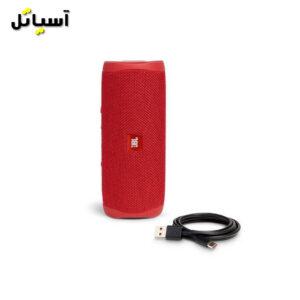 تصویر اسپیکر بلوتوث JBL مدل flip5 قرمز به همراه کابل شارژ