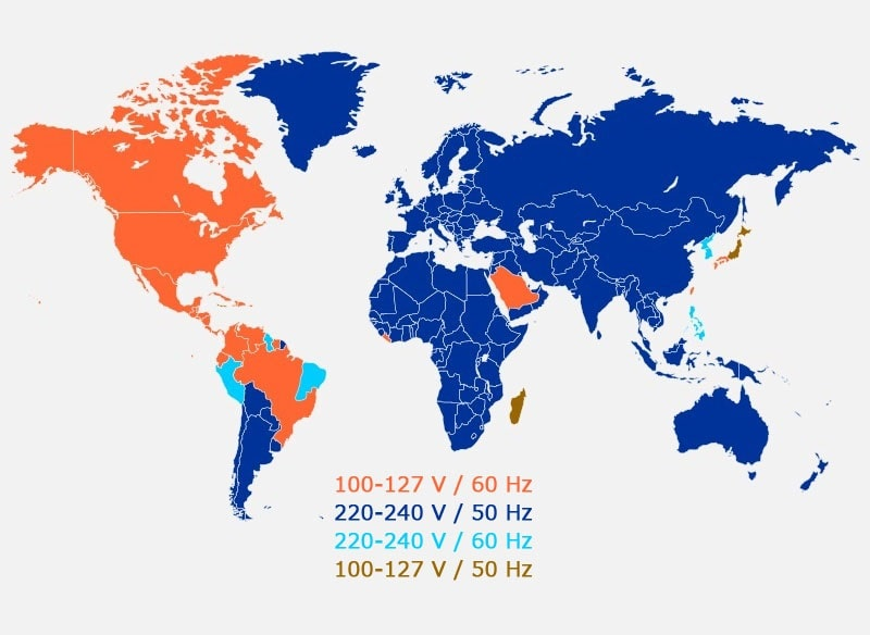 نقشه ولتاژ برق در گشور های گوناگون